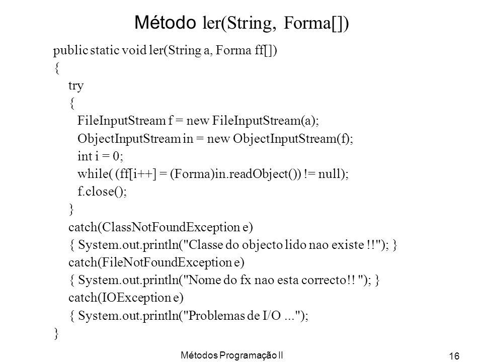 Método ler(String, Forma[])